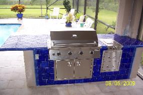 Concrete Counters Bar Tables Outdoor Summer Kitchen